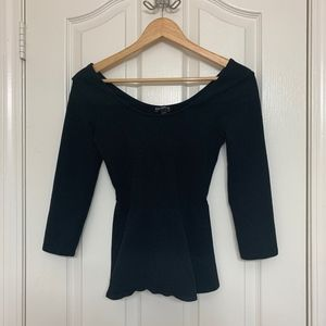 Women's Black Peplum Shirt
